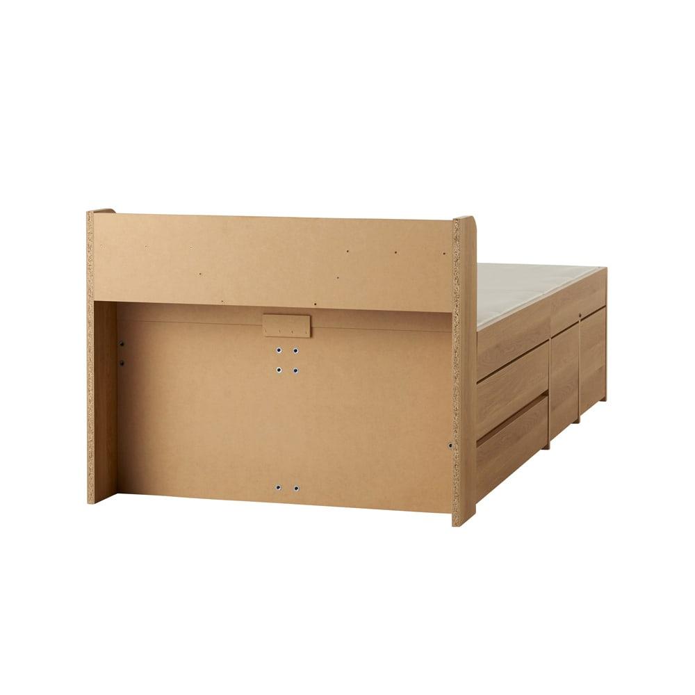 枕元すっきり収納付き天然木調チェストベッド フレームのみ 裏面
