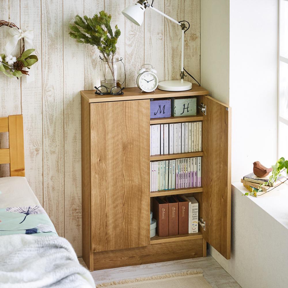 扉つきカウンター下収納 幅59cm(2枚扉) 本を入れれば書棚として。内寸奥行15cmなのでCDや文庫本も収納できます。
