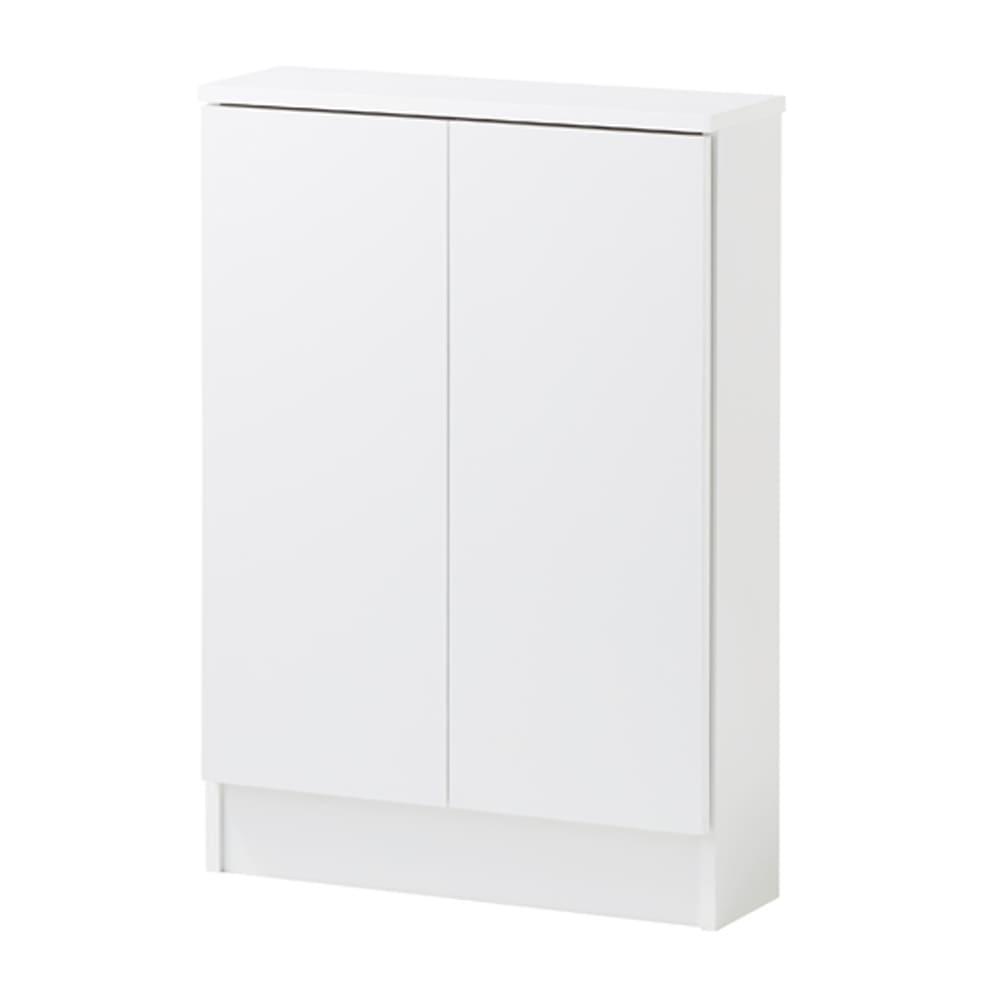 扉つきカウンター下収納 幅59cm(2枚扉) 清潔感のある(ア)ホワイト色