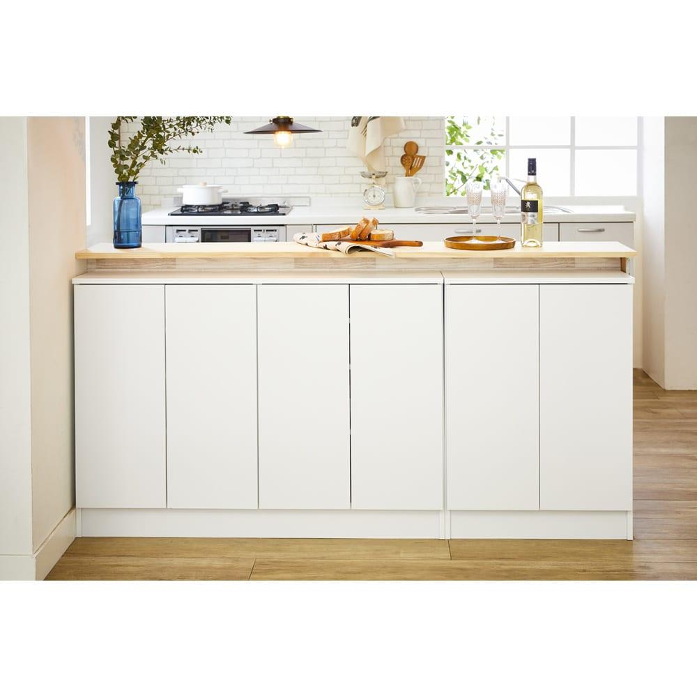 扉つきカウンター下収納 幅119cm(4枚扉) まるで備え付け家具のように美しいデザイン性です。
