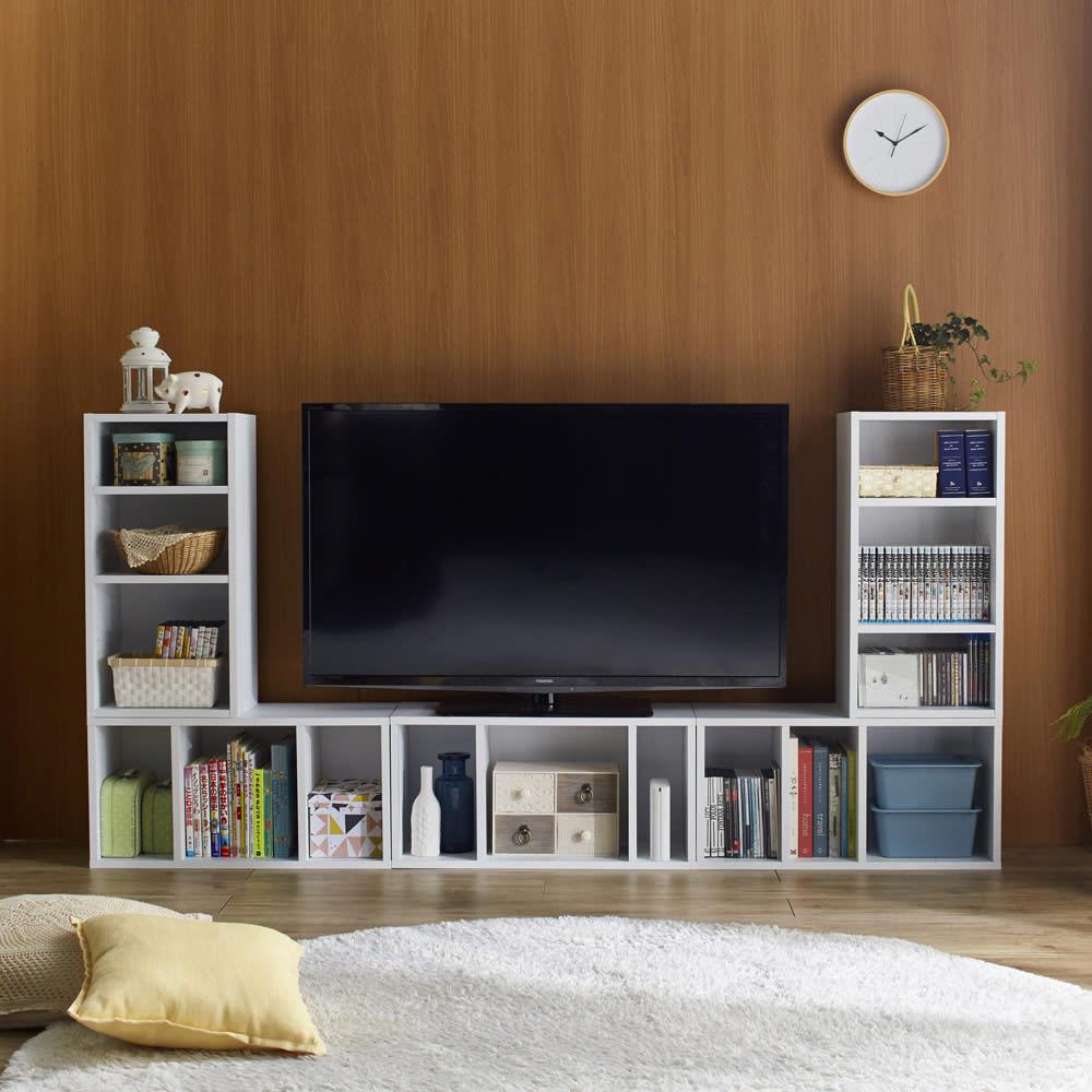 組み合わせ自在ユニットボックス5点セット 天板耐荷重は30キロなので、テレビも設置できます。