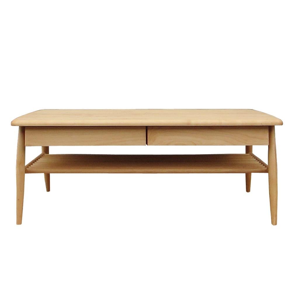 棚付き天然木テーブル (ア)ナチュラル