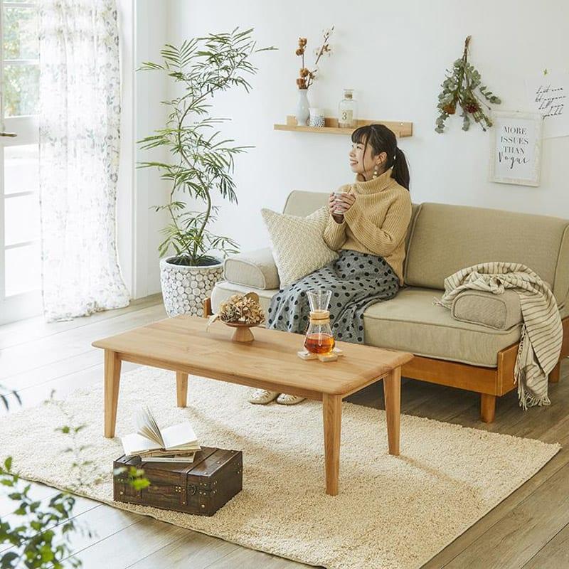 角の丸みが優しい天然木テーブル 居心地の良いカフェのような空間を実現できます。