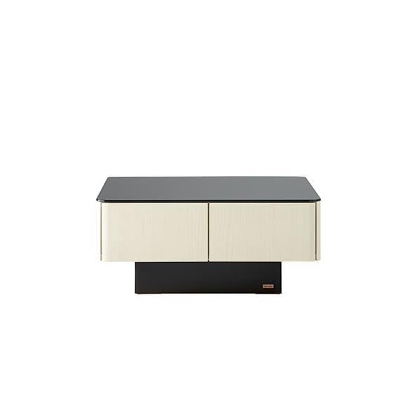 収納付きガラス天板リビングテーブル 80cm×80cm[国産] 80cm×80cm (ア)オークホワイト 正面