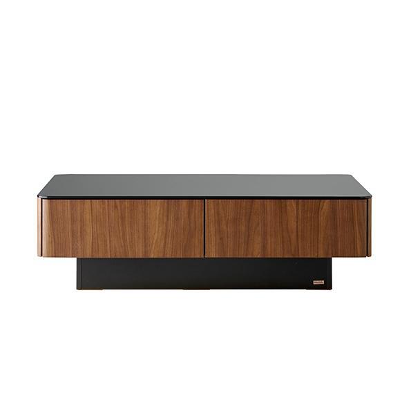 収納付きガラス天板リビングテーブル 80cm×80cm[国産] 120cm×80cm (ウ)ウォルナット 正面