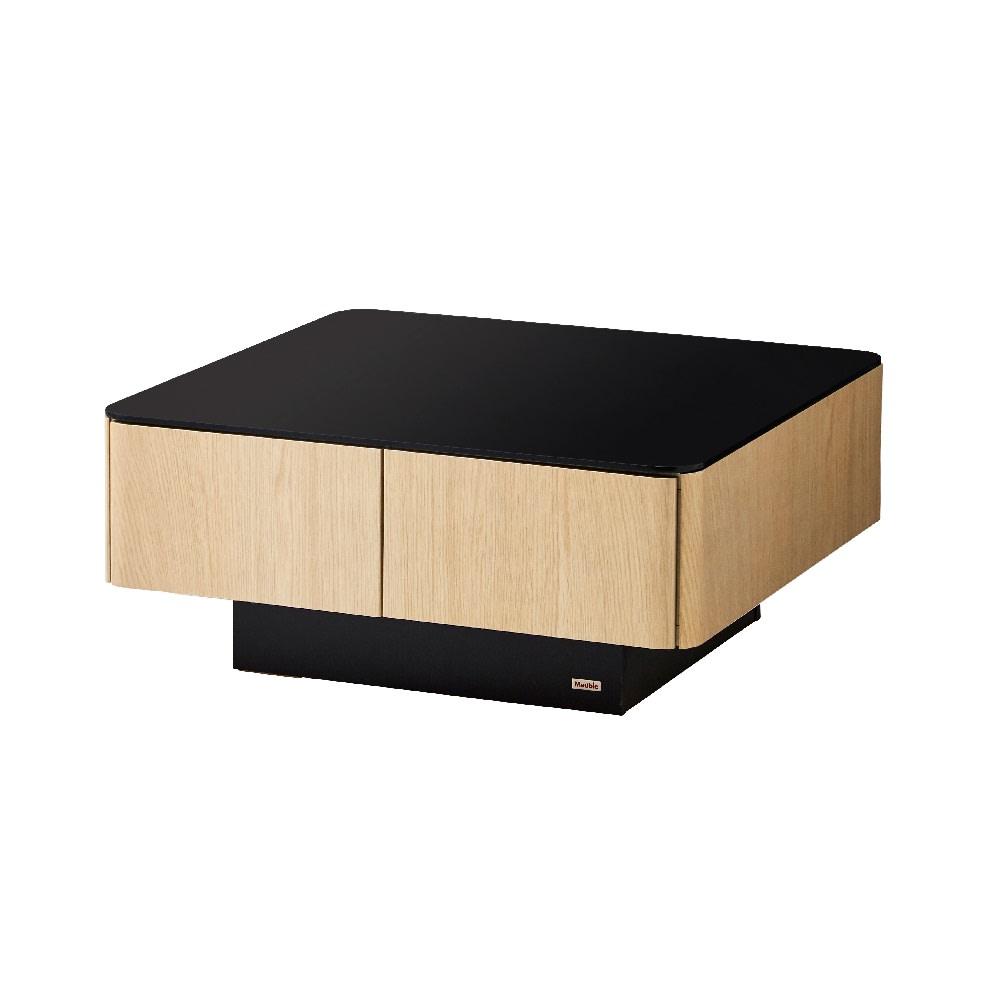 収納付きガラス天板リビングテーブル 80cm×80cm[国産] 80cm×80cm (イ)オークナチュラル
