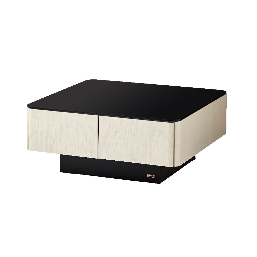 収納付きガラス天板リビングテーブル 80cm×80cm[国産] 80cm×80cm (ア)オークホワイト