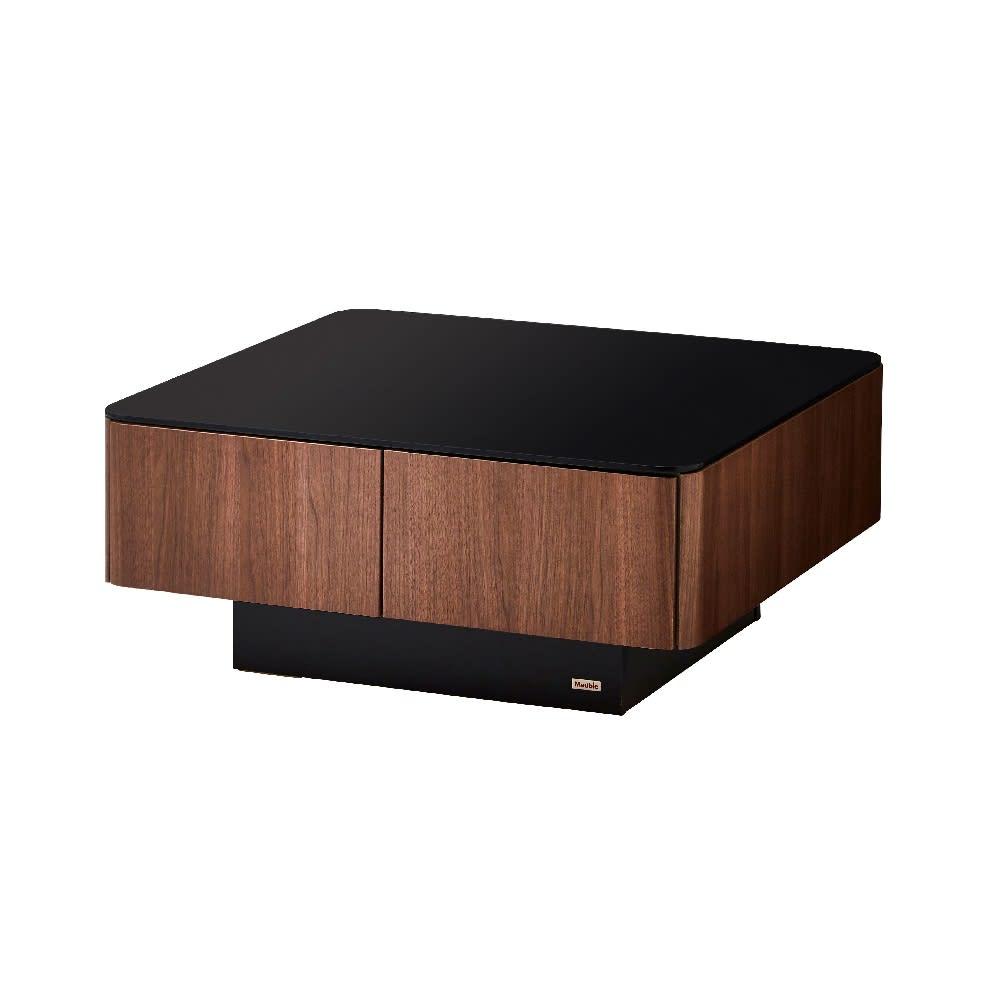 収納付きガラス天板リビングテーブル 80cm×80cm[国産] 80cm×80cm (ウ)ウォルナット