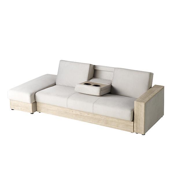 Katevasoh/カテバソー 収納付きマルチソファベッド (イ)ホワイト ※サイドテーブル使用時