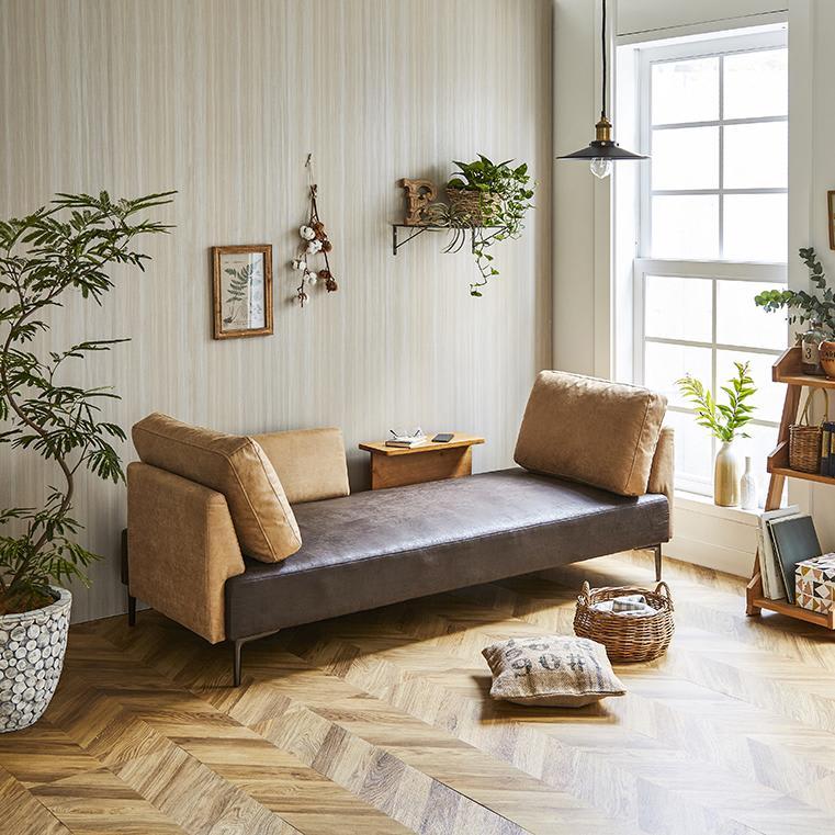 Turkut/トゥルク サイドテーブル付きソファベッド カウチスタイルでゆっくりくつろぐ事もできます。