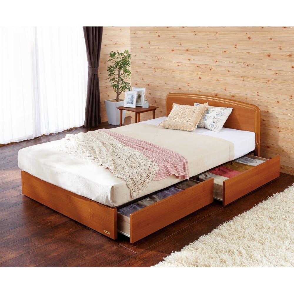 フランスベッド BOX引き出し付きベッド 羊毛綿入りマルチラススプリングマットレス付き (ア)ライトブラウン ※写真はセミダブルタイプです。