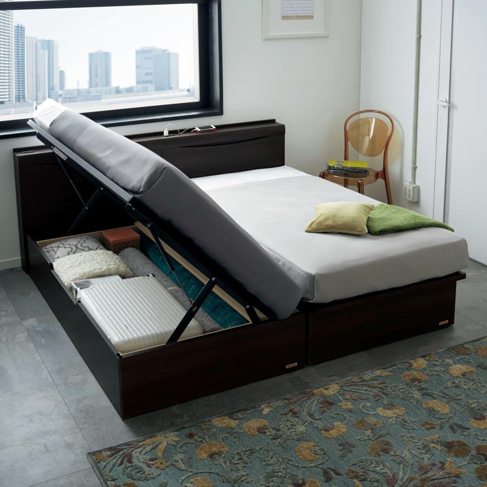 FranceBed(フランスベッド) 棚照明付き跳ね上げベッド 横開きタイプ ダークブラウン ※写真はシングルサイズ×2です。