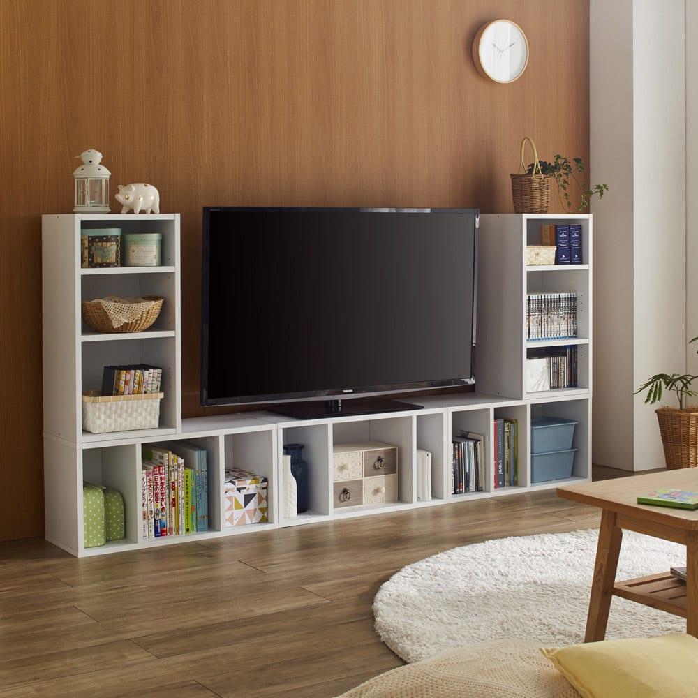 組み合わせ自在ユニットボックス5点セット 横置き、縦置きを組み合わせればテレビボードとしても活躍!ライフスタイルに応じて様々なスタイルにアレンジできます。