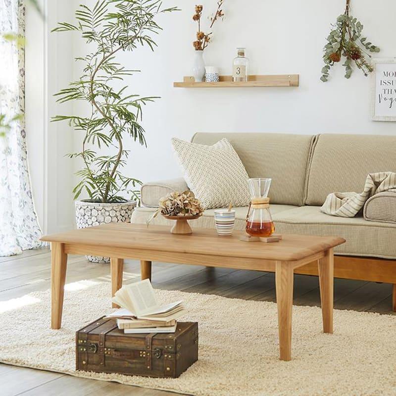 角の丸みが優しい天然木テーブル アルダー無垢材を贅沢に使用した、北欧テイストのセンターテーブルです。