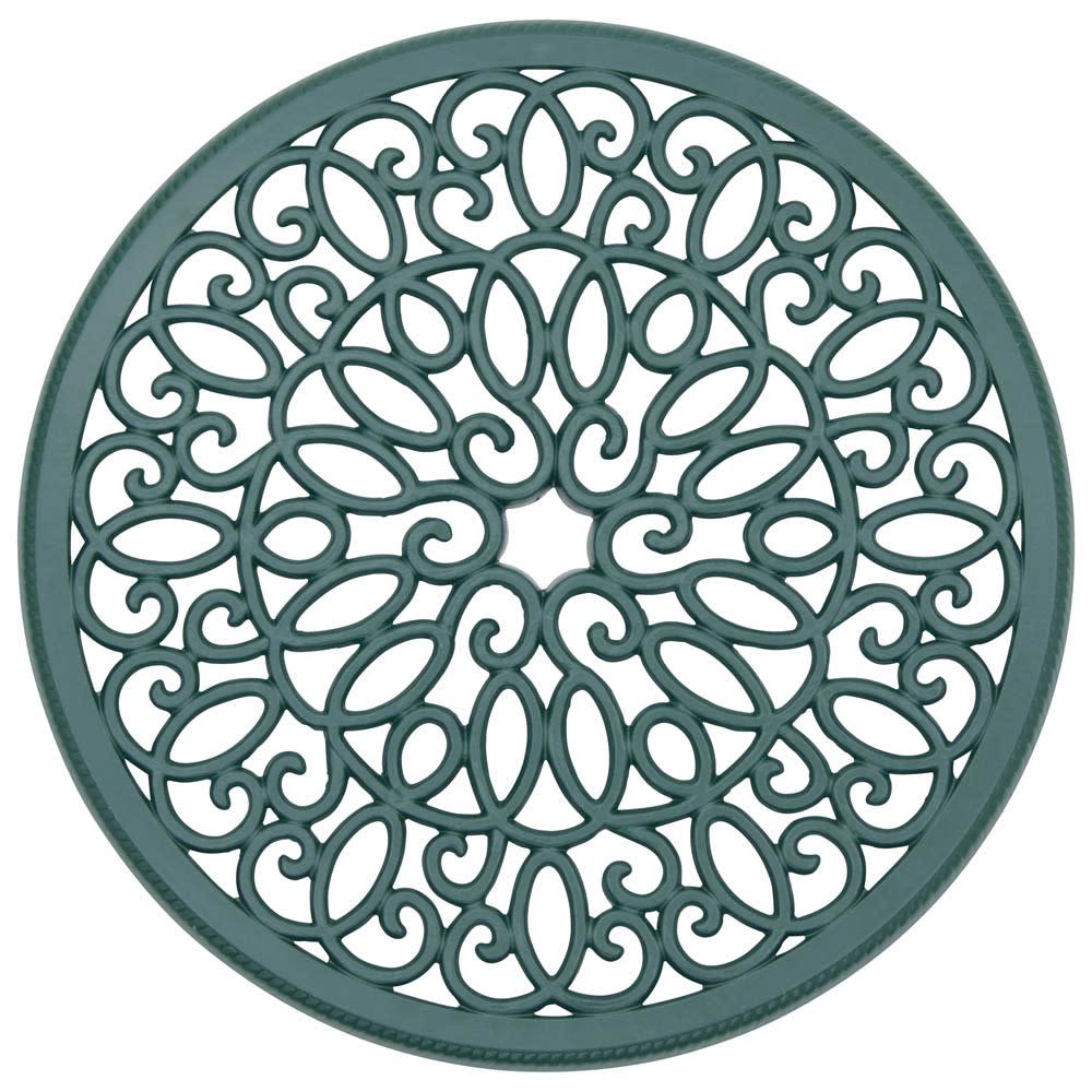 アラベスク アルミファニチャー コンパクト3点セット(コンパクトテーブル+チェア2脚組) 径60cmのコンパクトテーブル