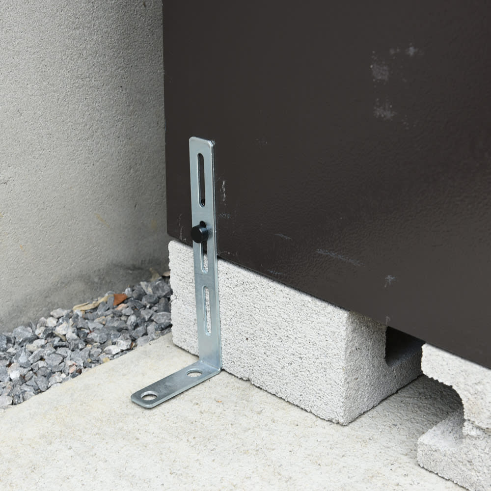 宅配収納BOX 2BOX P-BOX ピーボ 付属のL字アンカー用金具で安心。(アンカーボルト・ブロックは市販・別売)