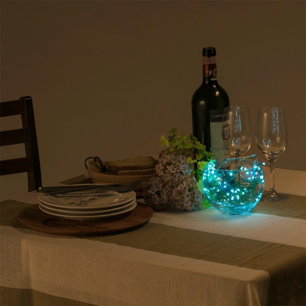 電池式LEDクラスター60球 コーディネート例(ウ)アイスブルー