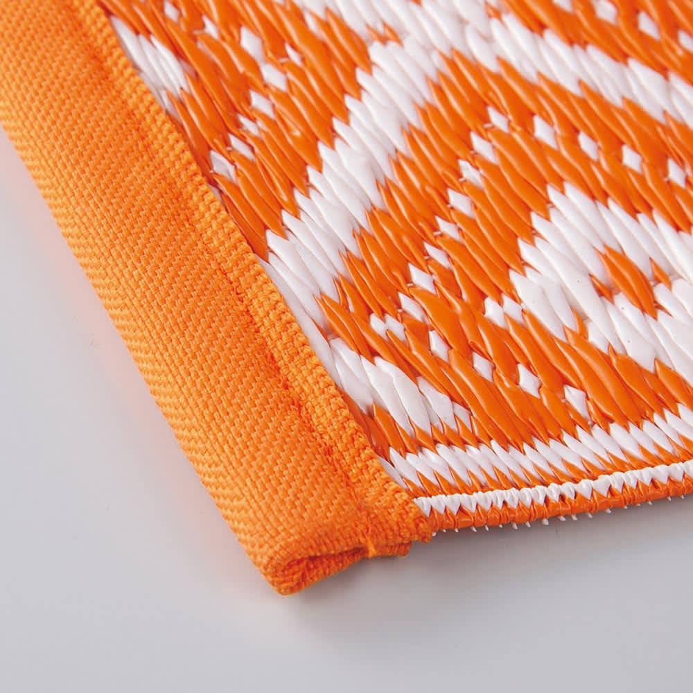 アウトドアラグ 180×180cm (ア)オレンジ系