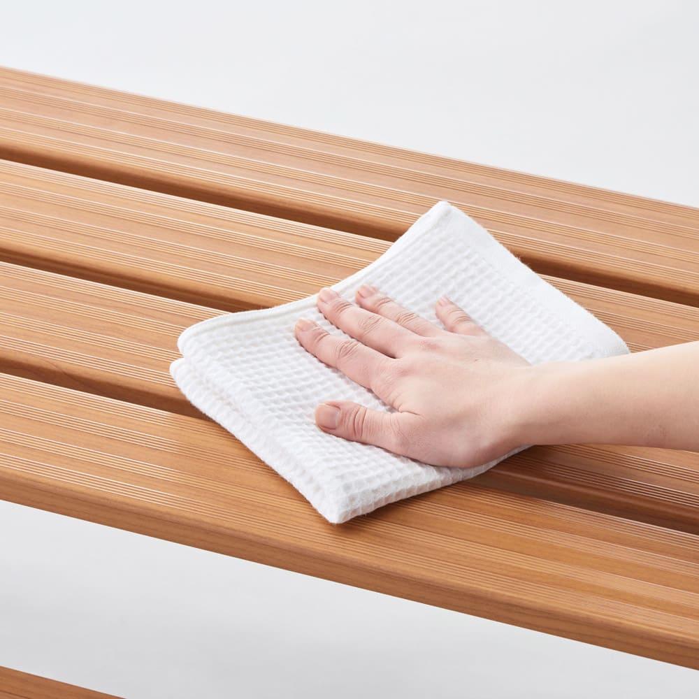 天然木調アルミデッキ縁台 デッキ幅90奥行90cm アルミ製でお掃除も簡単。