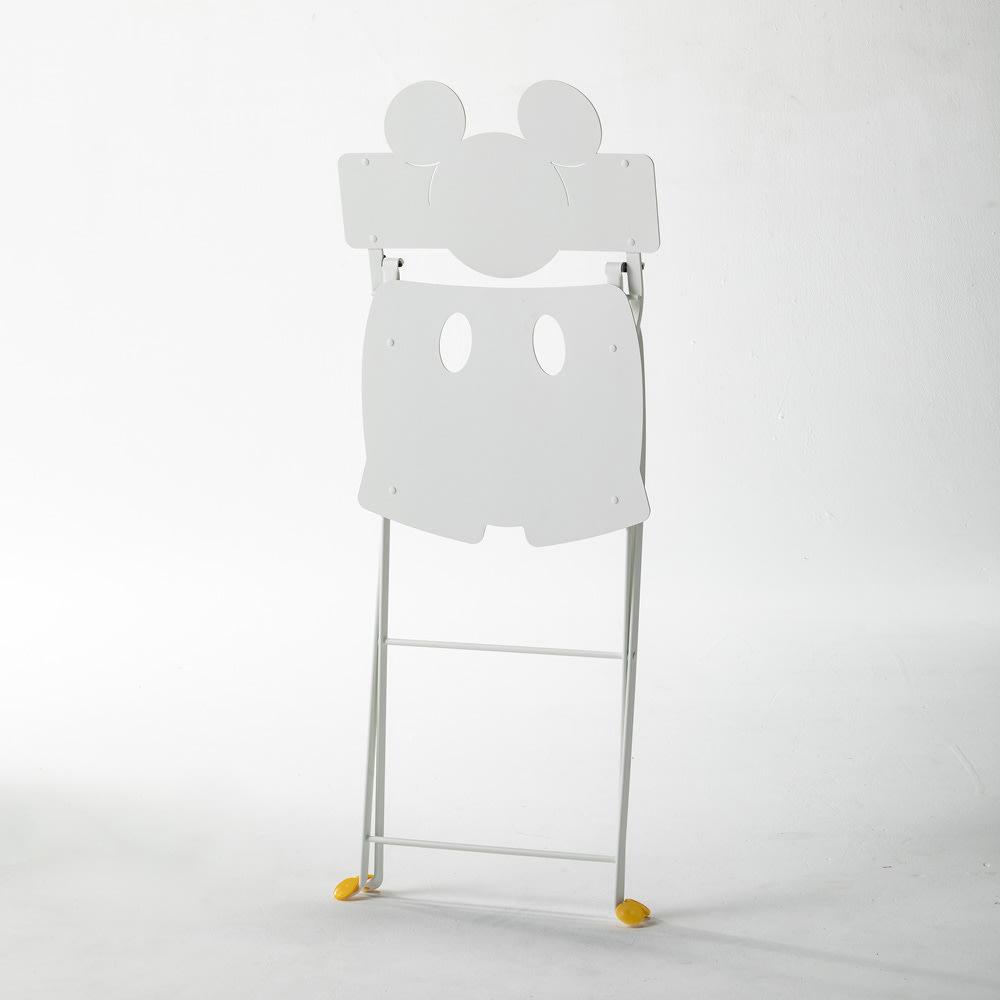 フランス製ビストロ ミッキーチェア1脚 (ア)ホワイト 畳むとミッキーのシルエットでおしゃれ!