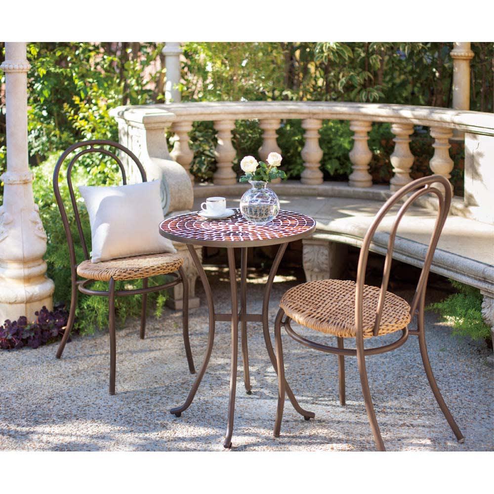 アンティーク風モザイクシリーズ テーブル コーディネート例 ※お届けはテーブルのみです。