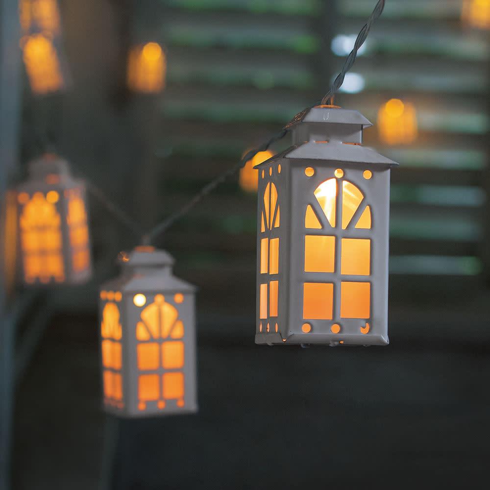 タイマー付電池式ガーランドライト・ランタンハウス ガーデンライト