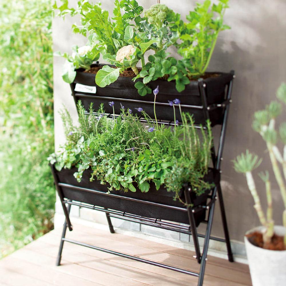 菜園プランターコンパクトベジトラグ 2段 (ア)ブラック 使用イメージ
