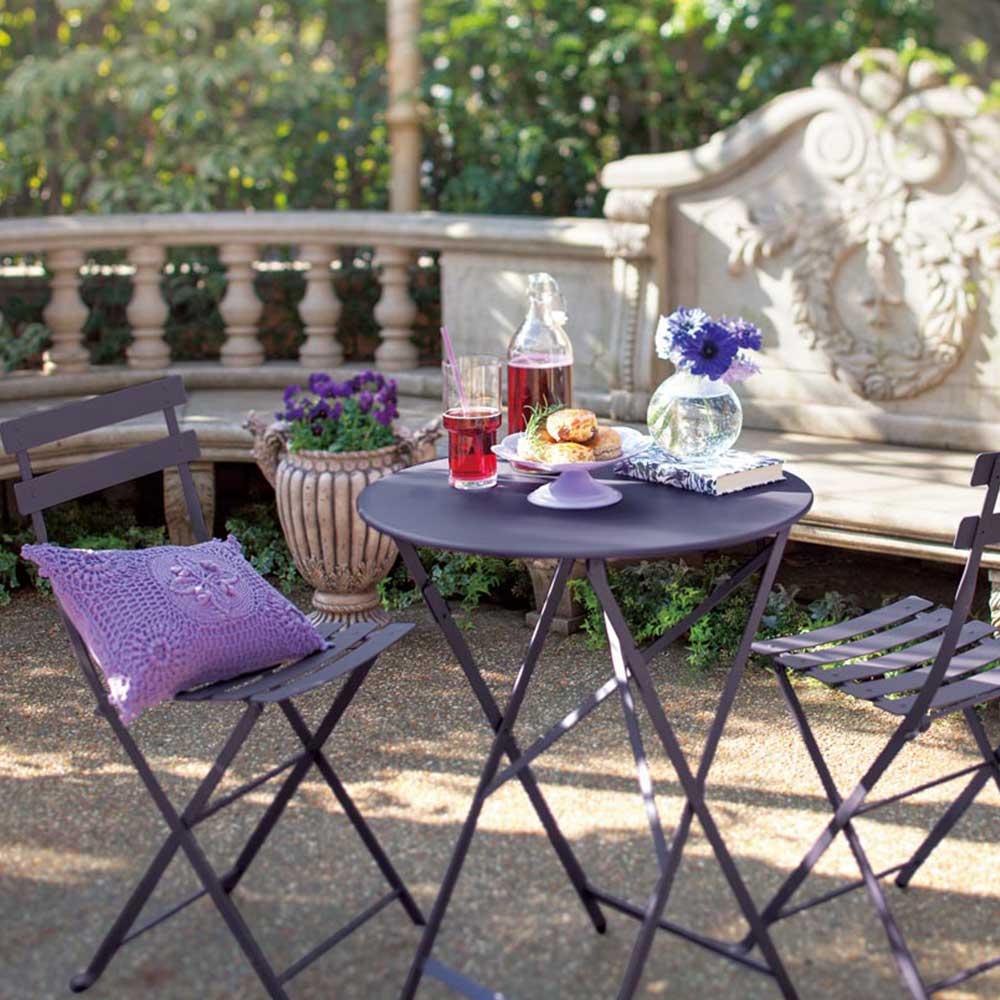 ディノス オンラインショップフランス製ビストロテーブル 径60cm ウィローグリーン 【通販】