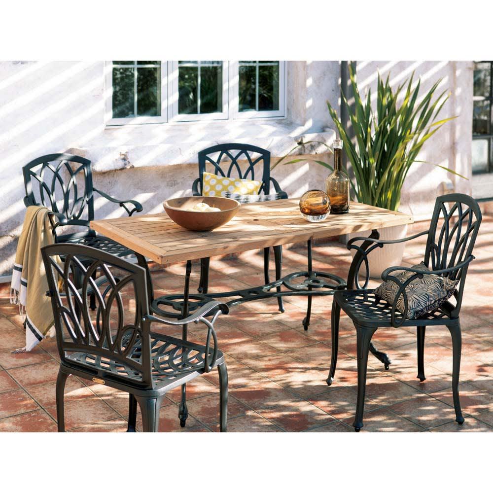 g-STYLE サーモウッドテーブル 5点セット ガーデンファニチャーセット