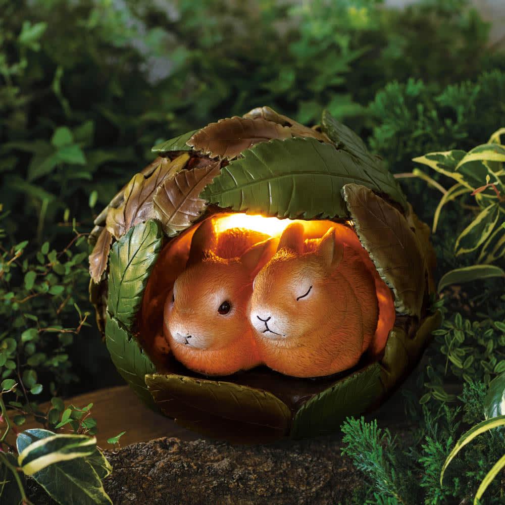 動物の冬支度ソーラーライト ウサギ/リス/キツネ ガーデンライト