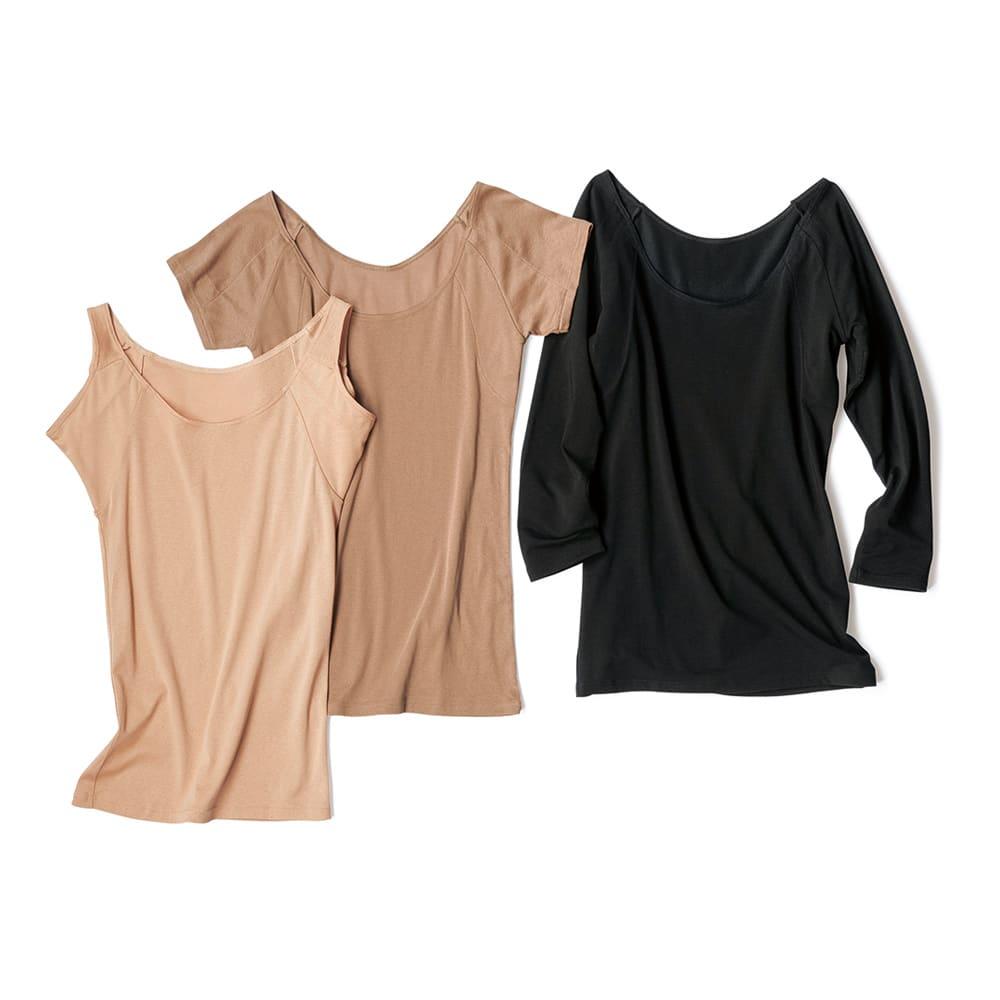 脇にフィットする 汗取りインナー(防水布入り) 八分袖 右: (ア)ブラック ※他のアイテムは別売りの商品です。