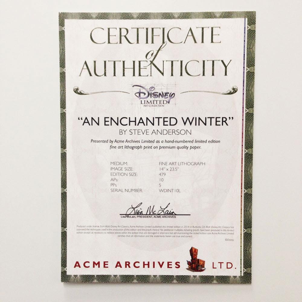 アナと雪の女王 プレミアムアートフレーム(マット付き)縦80×横64.5cm 作品名「An Enchanted Winter」 安心の証明書付き