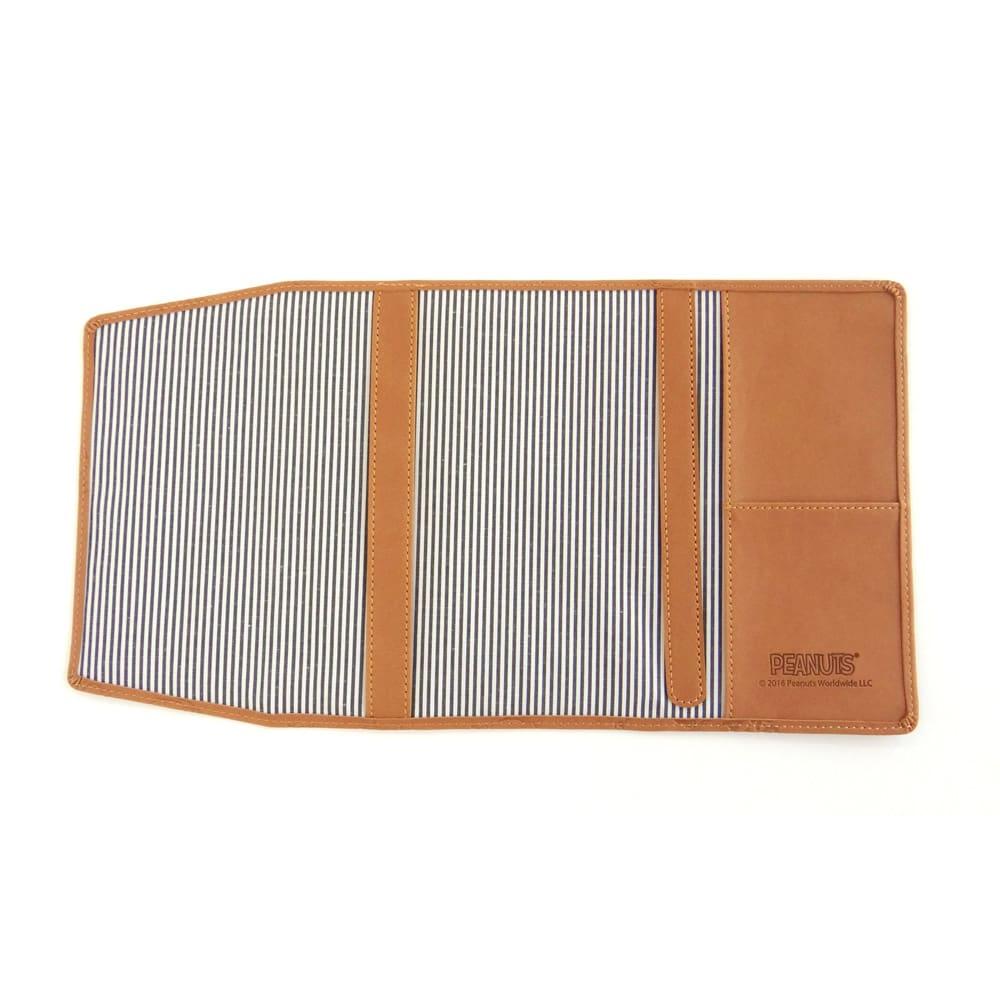 SNOOPY(スヌーピー)/スヌーピー メニーフェイス ブックカバー|PEANUTS (ア)ライトブラウン/便利なミニポケット。右側には、カードサイズのポケットがあります。
