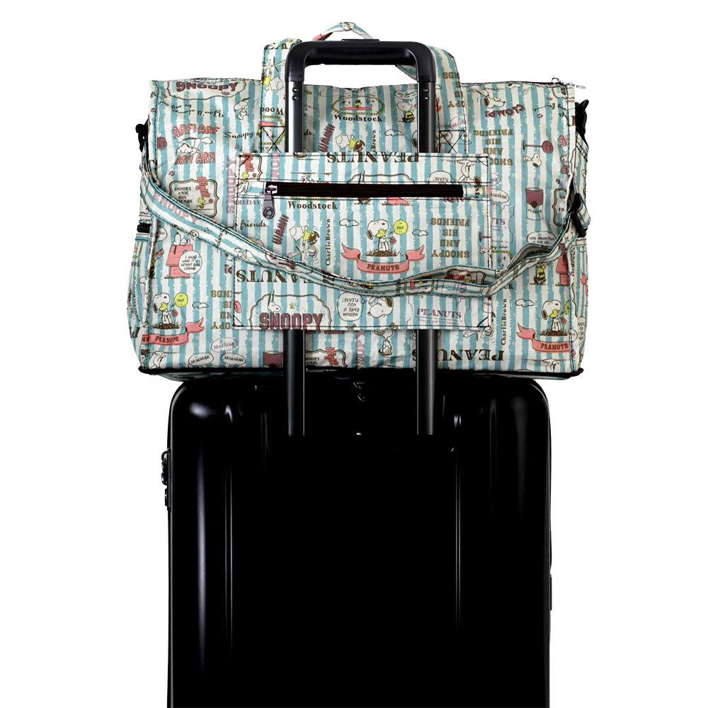 SNOOPY(スヌーピー)/スヌーピー折りたたみボストンバッグ P|PEANUTS スーツケースにキャリーオン可能。