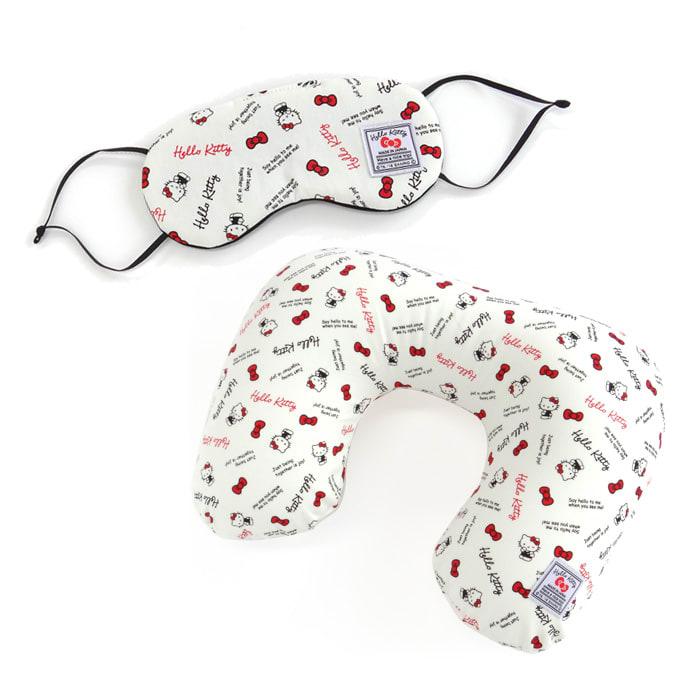 Hello Kitty(ハローキティ)/スタンダードロゴ柄 ネックピロー&アイマスクセット (イ)ホワイト