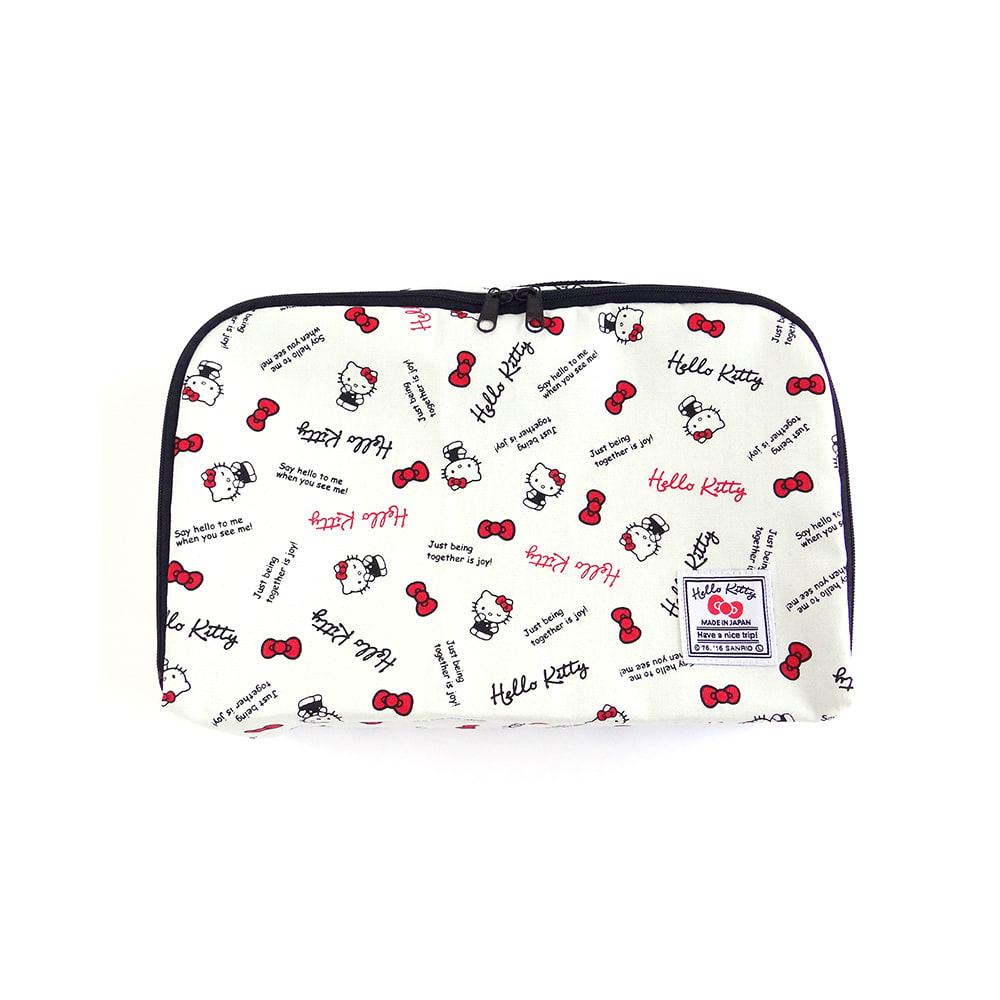Hello Kitty(ハローキティ)/スタンダードロゴ柄 衣類ケース Sサイズ (イ)ホワイト