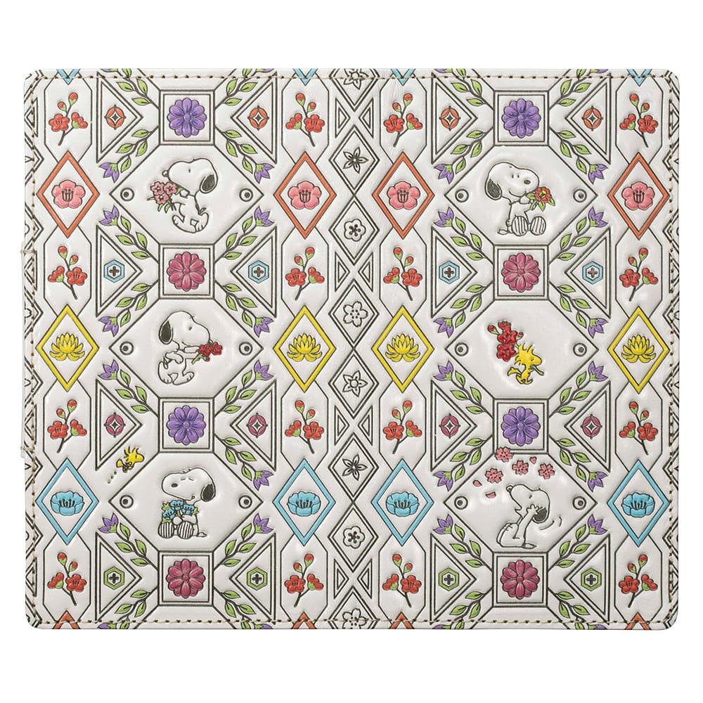 SNOOPY(スヌーピー)/浅草文庫 牛革製スマホケース|PEANUTS 熟練の職人技が作り出す色鮮やかで繊細な革工芸。幸せの文様を表裏いっぱいにあしらった、贅沢な一枚革です。