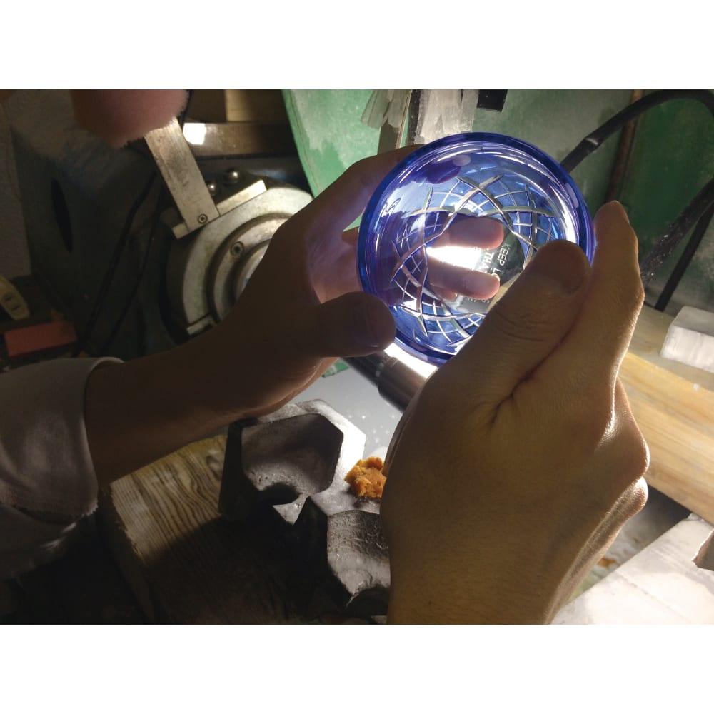 SNOOPY(スヌーピー)/江戸切子グラス いきいき瑠璃色 PEANUTS 江戸切子