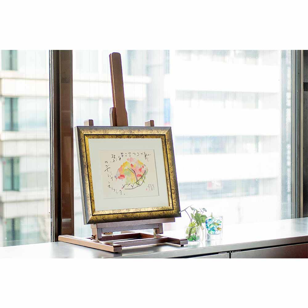 外林省二 干支~酉~(エト・トリ) 作品展示イメージ(商品は別商品の「花籠」商品番号:NV06-91です)。