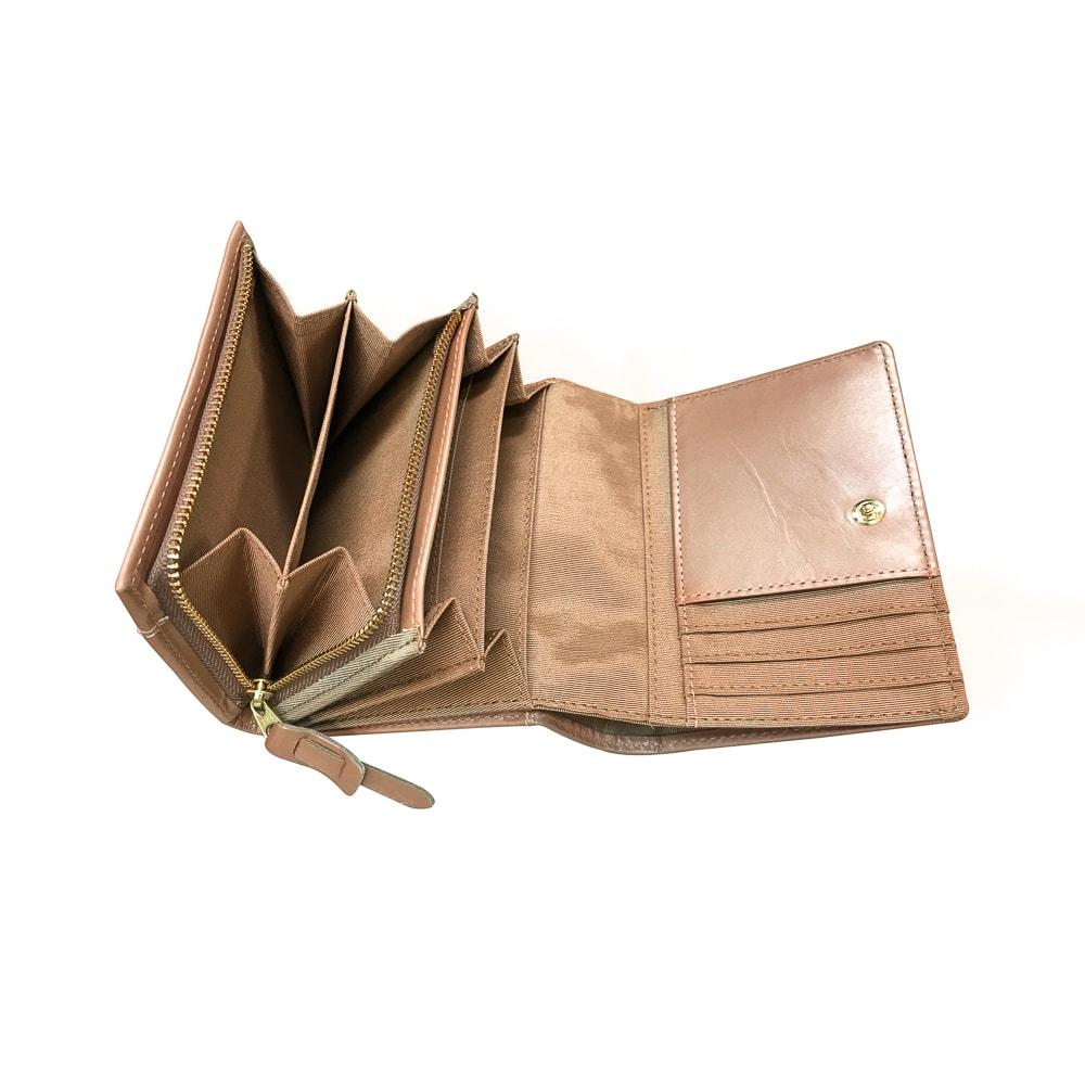 SNOOPY(スヌーピー)/ウォーク LF二つ折れ牛革財布|PEANUTS (イ)ピンク