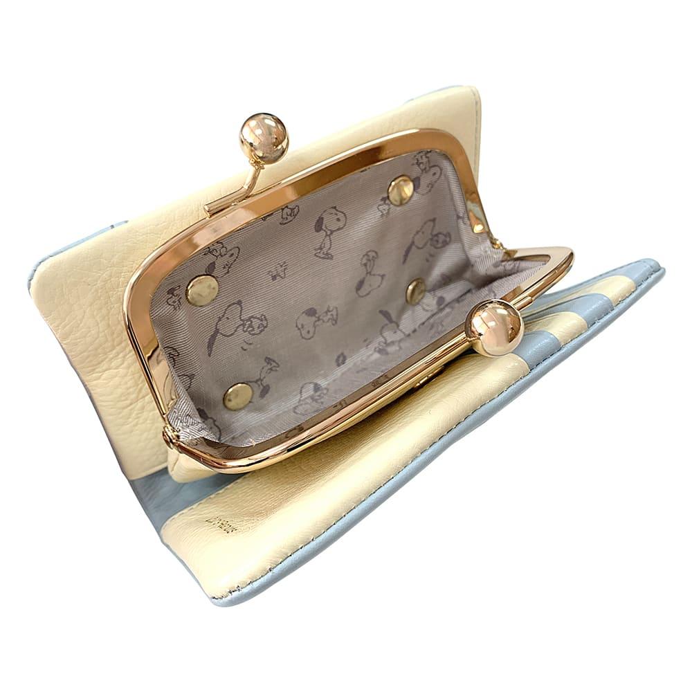 SNOOPY(スヌーピー)/スモーキーパステル がま口二つ折り財布 (ウ)ブルー