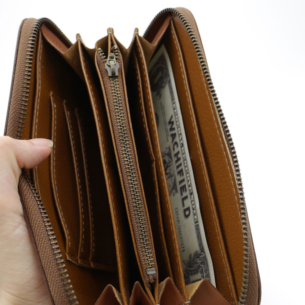 わちふぃーるど/DBラウンド財布 マチ付き大容量の札入れスペース