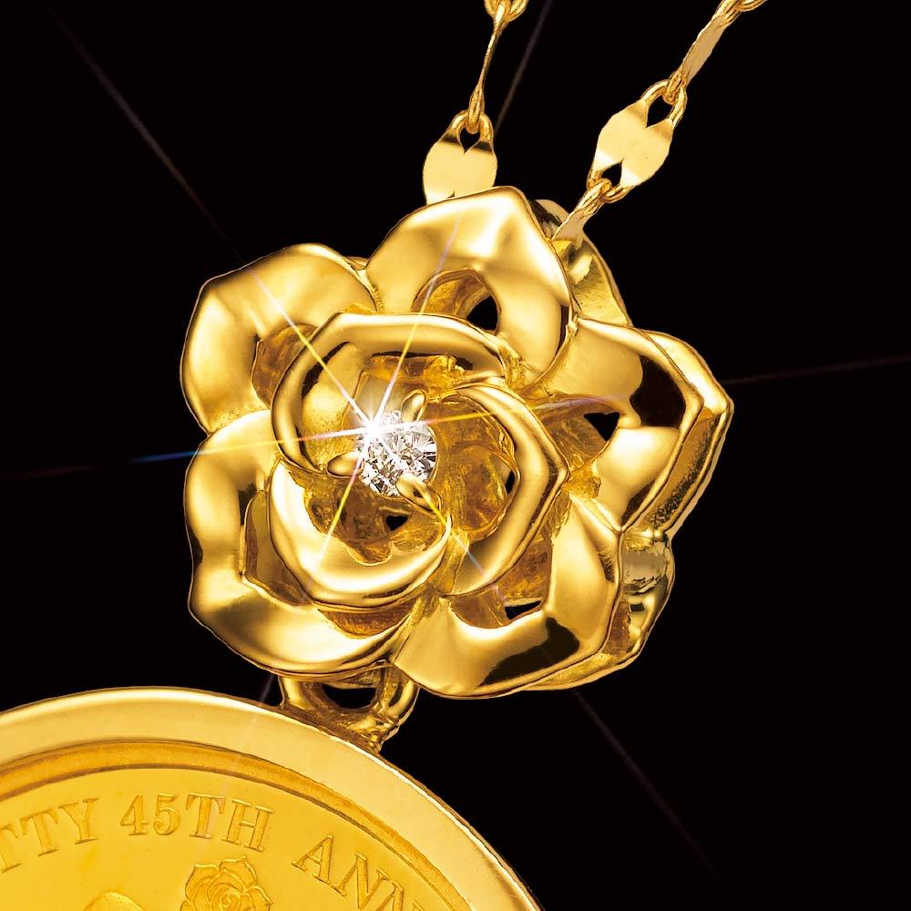 Hello Kitty(ハローキティ)/ハローキティと薔薇の金貨コインペンダント