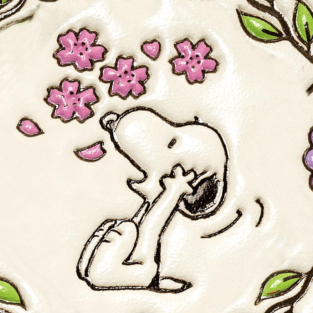 【WEB】SNOOPY(スヌーピー)/浅草文庫 牛革製長財布 PEANUTS 桜