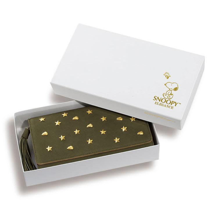 【WEB】SNOOPY(スヌーピー)/スヌーピーゴールドスター牛革ヌバックの長財布|PEANUTS オリジナルボックス入り