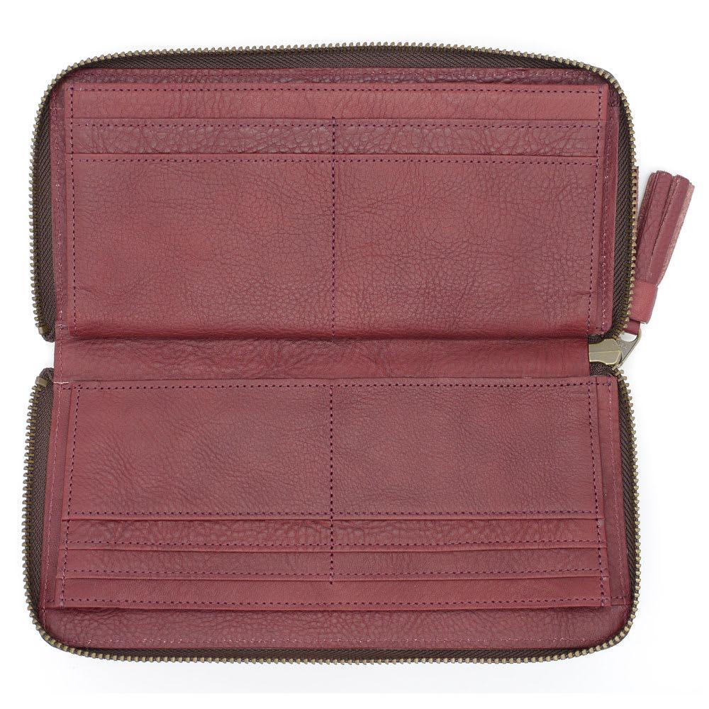 わちふぃーるど/スマートラウンド財布 ボルドー 中身が取り出しやすい180度開くラウンドファスナー
