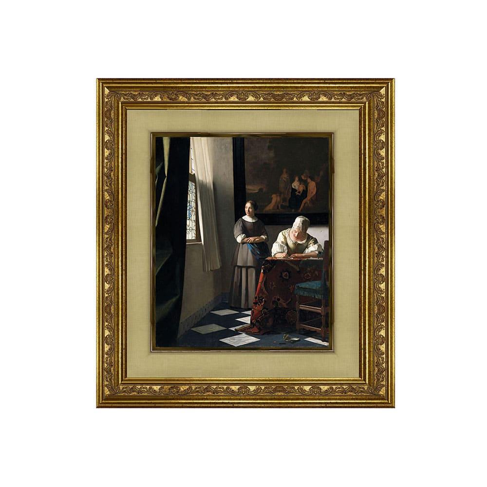 フェルメール/手紙を書く女と召使(複製画)