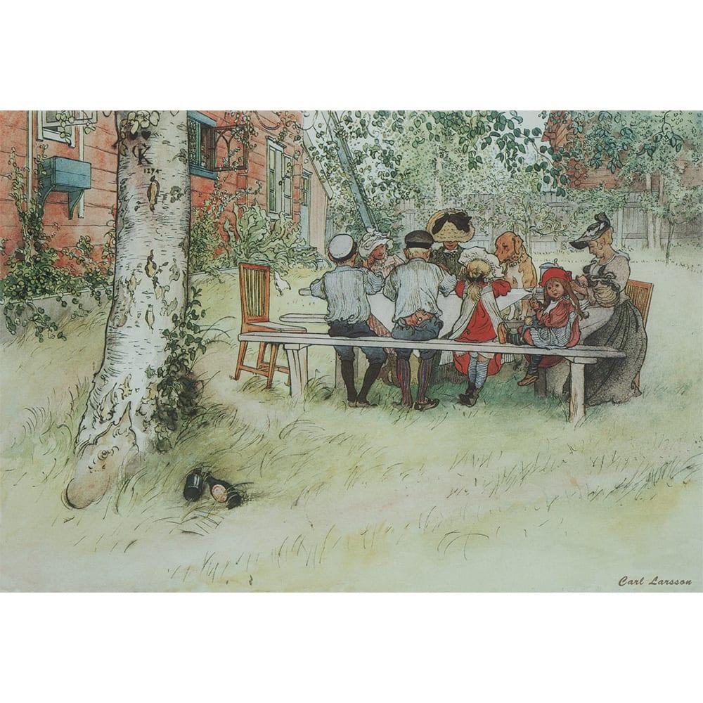 カール・ラーション/白樺の木陰での朝食(スウェーデンアート)