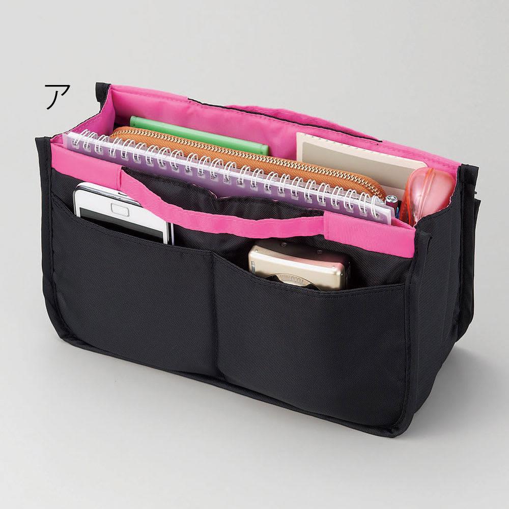 COGIT(コジット)/旅の便利が詰まった 12ポケットバッグインバッグ ア:(裏側)中綿入りポケット×2…スマートフォンや音楽プレイヤー、デジカメ入れに。