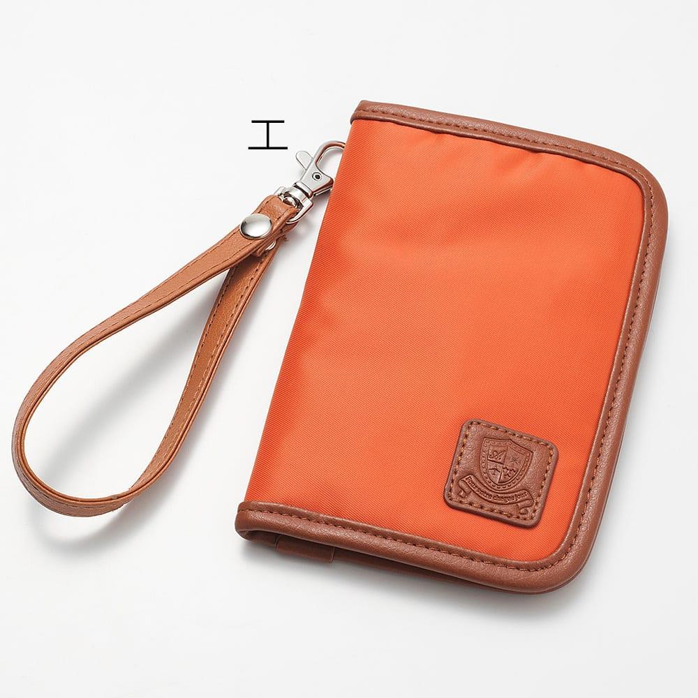LOGOシリーズ/パスポートカバー(スキミング防止機能付き) エ:オレンジ